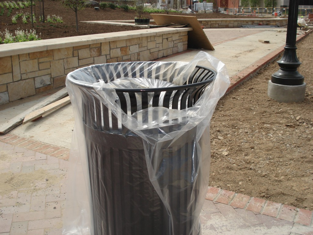 Trash receptacles have been installed throughout the site.