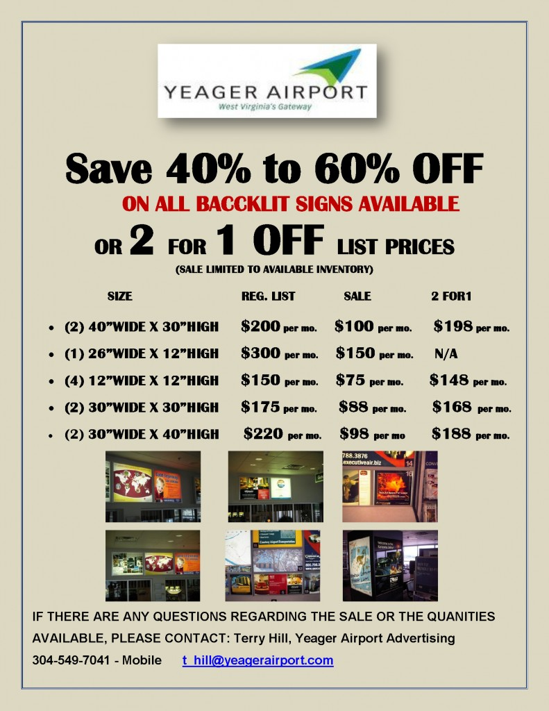 2 FOR 1-YEAGER AIRPORT SIGN SALE-2012-E