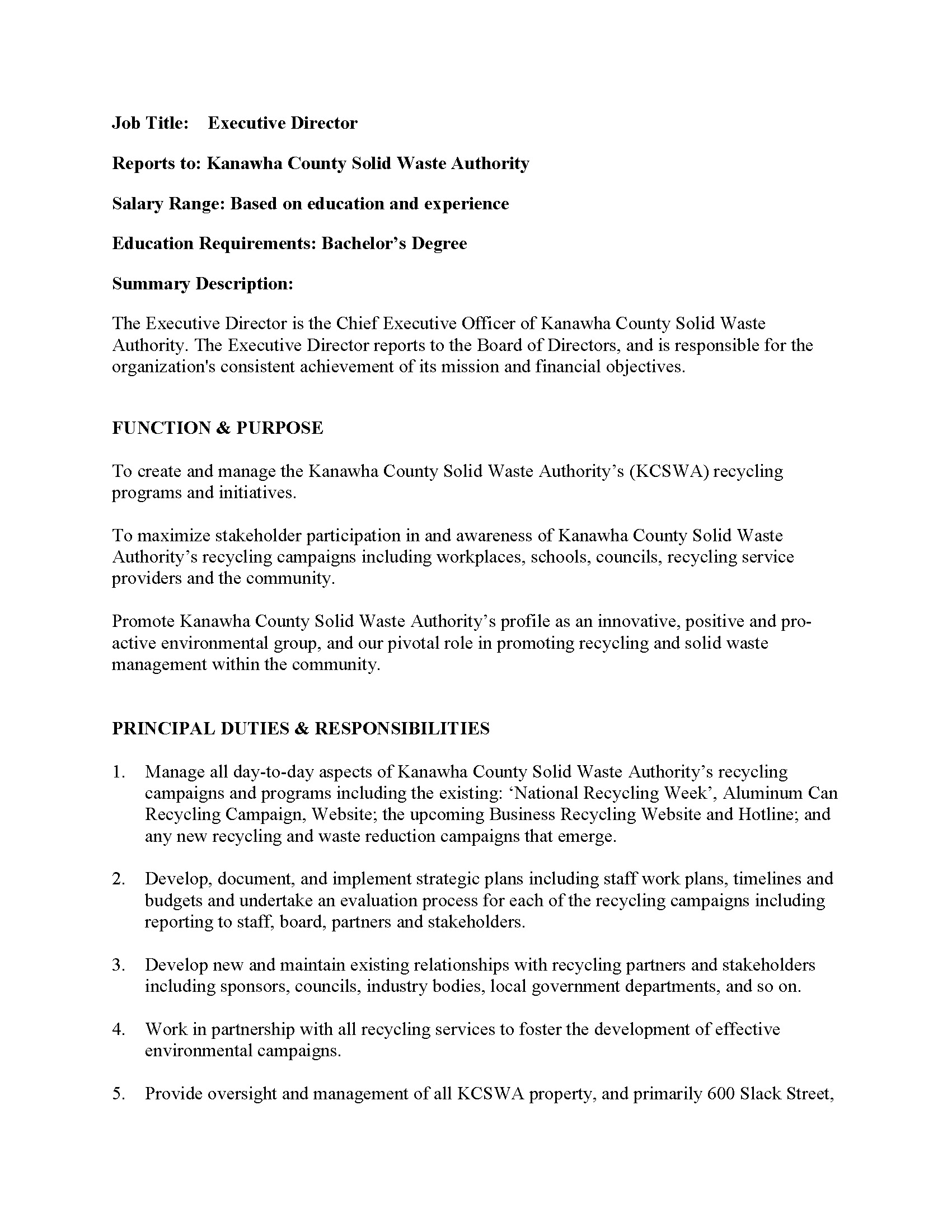 ExecutiveDirectorJobDescription docPage1 – Executive Director Job Description
