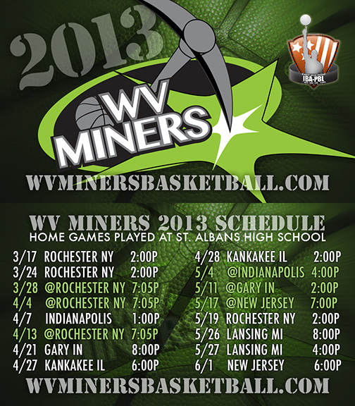 WV Miners 2013 Color Schedule