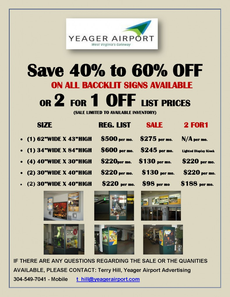 2 FOR 1-YEAGER AIRPORT SIGN SALE-2014-E